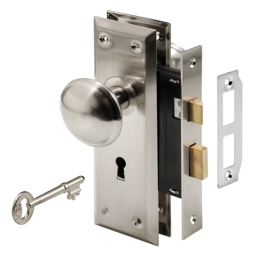 PRIME-LINE Defender Security E 2330 Mortise Keyed Lock Set with Satin Nickel Knob – Perfect for Replacing Broken Antique Lock Sets and More, Fits 1-3/8 in.-1-3/4 in. Interior Doors (Satin Nickel)