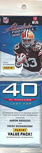 2012 Panini Absolute NFL Football Factory Sealed HUGE JUMBO RACK Pack with 40 Cards! Look for Rookie Cards & Autographs of Russell Wilson,Andrew Luck,Robert Griffen & all the Top 2012 NFL Draft Picks!