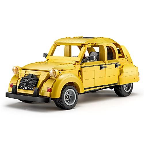 FanMei CADA C61026W 1238pcs Auto Baustein Set, Citroen 2CV Prototyp 1:12 Technologie Serie Oldtimer Modell, Kompatibel Mit Lego Technologie (CADA C61024W Static)