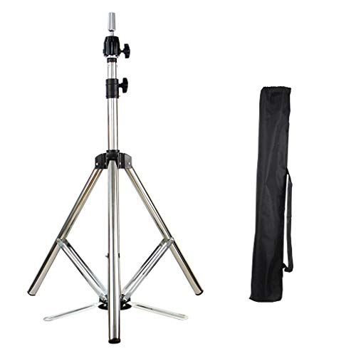 ErYao Wig Stand Tripod Adjustable Mannequin Head Tripod Stand Metal Manikin Tripod Stand Holder for Hair Salon Cosmetology Hairdressing Training Canvas Block Wig Head Stands with Carry Bag (Silver)