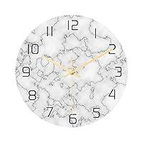 壁時計 モダンライトラグジュアリーウォールクロック大理石のテクスチャ時計ホームベッドルーム装飾時計アクリル持続テレビの壁の装飾 (Color : Brown)