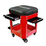 OEMTOOLS 24998 Red Rolling Workshop Mechanics Creeper Seat with 2 Tool Storage Drawers Under Seat, Parts Storage, & Can Holders, Rolling Stool for Mechanic Tools