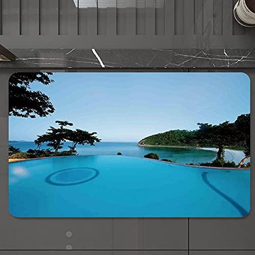 Alfombrilla de Baño Antideslizantes de 50X80 cm,Decoración de la casa, vista a la piscina en, Tapete para el Piso Lavable a Máquina con Microfibras Suaves Absorbentes de Agua para Bañera, Ducha y Baño