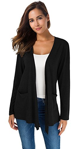 TownCat Women's Loose Casual Long Sleeved Open Front Breathable Cardigans with Pocket (Black, S)
