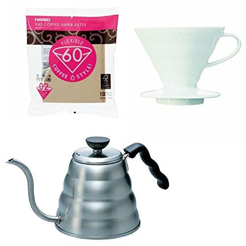 Hario V60 - 1.2 Liter Kettle, Porcelain Dripper, Spoon & 100 Filters - All Sold Together