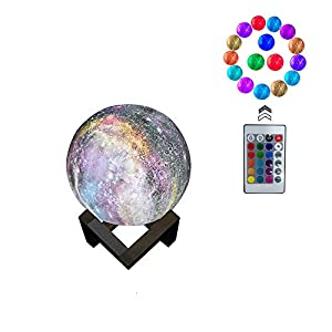 3D Moon Light Lamp, 16 Colors 3D Galaxy Moon Lamp with Stand, USB Charging, Remote & Touch Control Room Décor for Birthday Party Kids Baby Gifts