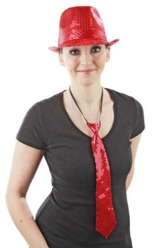 Foxxeo rote Pailletten Krawatte für Damen und Herren zu Fasching Karneval Motto Party Paillettenkrawatte