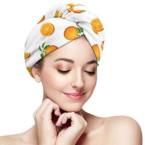 Toalla de pelo de microfibra abrigo naranja fruta pelo turbante toalla súper absorbente rápido secado gorras sombrero