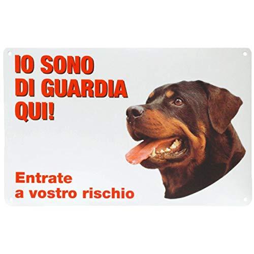 Targa in Plastica Io Sono Di Guardia Qui 28x18 cm con Cane Rottweiler
