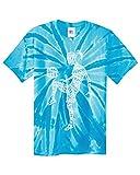 Threadrock Big Girls' Soccer Player Typography Youth Tie Dye T-Shirt - Medium, Turquoise