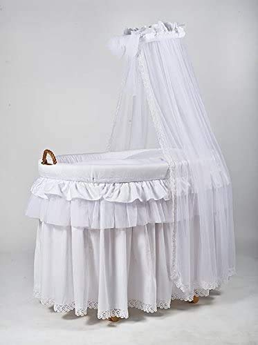 Cesta de mimbre base de madera natural hecha a mano la cuna polea adecuada desde el nacimiento hasta los 9 meses,White