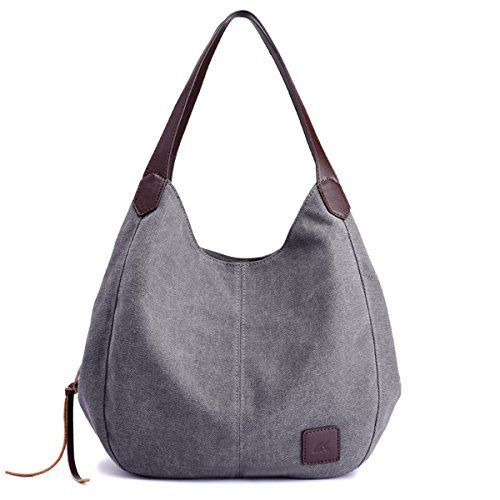 """Main material: high density cotton canvas,cotton lining and genuine leather zips. Dimension:11.02""""L x 5.12""""W x 11.81""""H. About 0.36 Kg. Style:2 big pockets(magnetic-closure) ; 1 big pocket(zipper-closure); Many other small pockets .Tote Purse /Handbag..."""