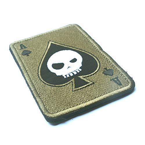 Newgreenca Todeskarte Rechteckige Flecken Stickerei Spaten Ein Poker Tactical Flecken-Abzeichen
