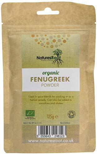 Natures Root Polvo de fenogreco biológico, 125 g, Methi en polvo, suplemento alimenticio natural a base de hierbas, superalimento sin procesar