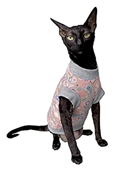 Kotomoda T-shirt pour chat Motif cachemire rose pour Sphynx et chats nus