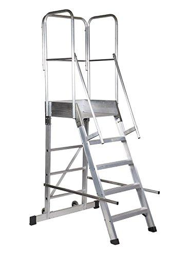 Arcama 1EP60060124 Escalera plataforma móvil industrial, 60 x 60 x 124 cm