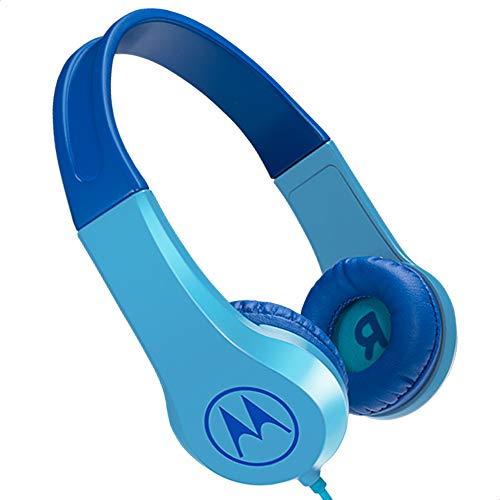 Motorola Lifestyle Squads 200 - Auriculares con Cable para niños (Volumen Limitado 85dB, protección auditiva y función de Compartir música, cojín antialérgico) Color Azul