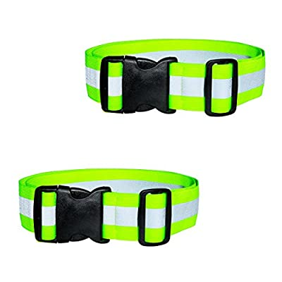 DASHGLOW - 2 Pack - Reflective Glow Belt Safety Gear, Pt Belt, for Running Cycling Walking Marathon Military (43 Inches)