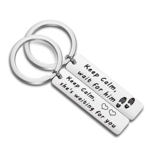 CHOORO Military Deployment Gift Military Couples Keychain Set Long Distance Relationship Gift Keep Calm Wait for Him (Keychain Set)