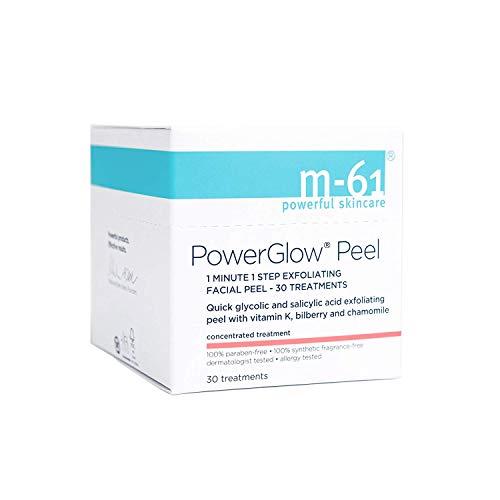 M-61 PowerGlow Peel- 30 Treatments- 1-minute, 1-step exfoliating glow peel with glycolic, vitamin K & chamomile