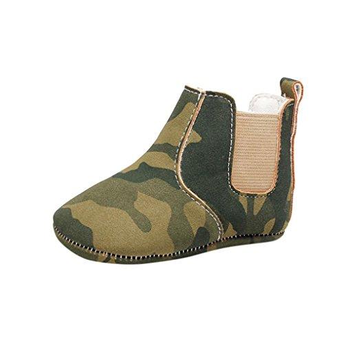 Babyschuhe Longra Neugeborene Baby Mädchen Jungen Krippe Weiche Sohle Anti-Rutsch Baby Camouflage Sneakers Stiefel Schuhe (14CM 12-18Monate, Green)