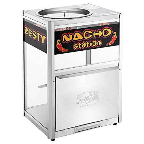 Great Northern Nacho Station Commercial Grade Nacho Warmer Merchandiser, Keeps Chips Warm and Fresh for Hours, Easy to Setup, Stainless Steel Frames with Heavy Duty Plate Glass