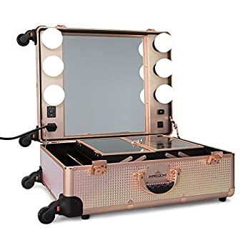 IMPRESSIONS Slaycase Pro Vanity Travel Train Case with Stand and LED Bulb Makeup Organizer Bag with USB Port and Dimmer Switch  Pink Mermaid Shimmer