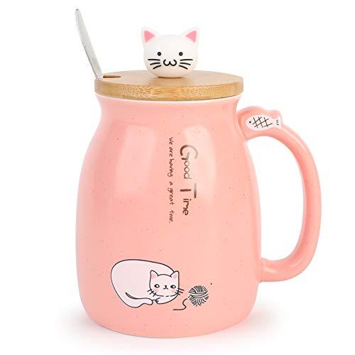 TopGearWorld Kaffeetasse Wasser Tee Tasse Katze Form Deko Milch Becher Schale Keramik Tea Cup mit Löffel und Deckel 450ml für Getränke Bier Fruchtsaft Geschenk Büro Frühstück Haferflocken