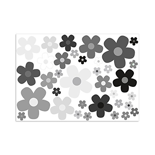 easydruck24de Aufkleber Set Blumen Blümchen grau I Flower-Power Sticker für Roller Fahrrad Notebook Laptop Handy Auto-Aufkleber I wetterfest I kfz_244