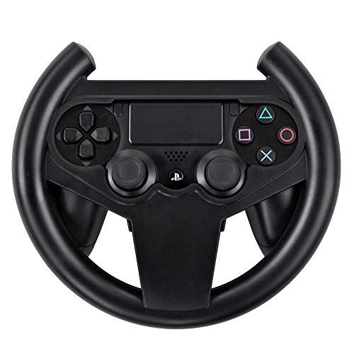 TNP PS4 Gaming Racing Steering Wheel - Gamepad Joypad Grip Controller for Sony Playstation 4 PS4 Black [Playstation 4] (Renewed)