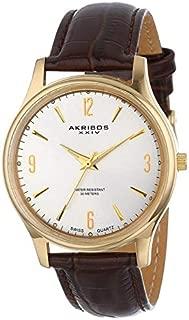Akribos XXIV Men's Classic Watch -Gold Case - Silver Sunburst Dial - Luminous Hands - Brown Embossed Crocodile Pattern Genuine Leather Strap - AK539