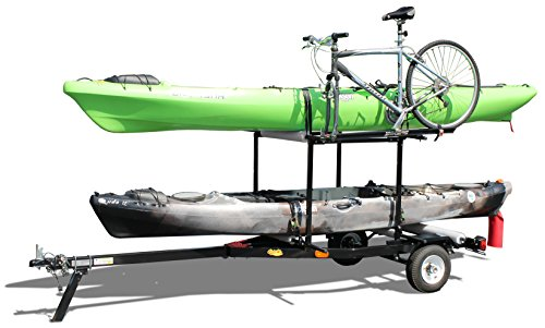 Multi-Sport Multi-Rack Kayak Trailer by Right On Durable Transporting Trailer for Kayaks, Sups, Canoes, Bicycles and More