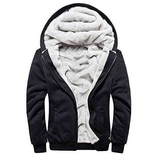 VSUSN Homme Veste à Capuche avec Zippée Manches Longues Épaisse Manteau à Capuche Hiver Chaud Polaires Doublé Sweats à Capuche(Noir, 5XL)