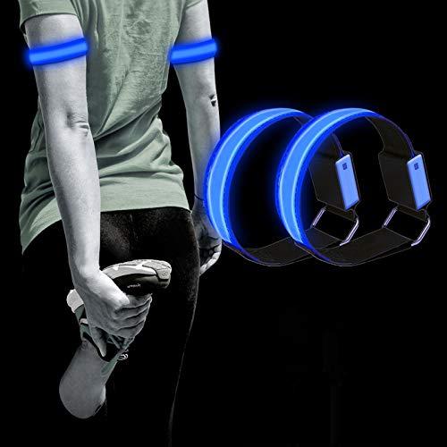 Dusor LED Aufladbar Leuchtarmbänder für Kinder Licht Joggen Leuchtbänder, Blinklicht Joggen für Handgelenk, Arm, Knöchel, Bein, Lauflicht für Läufer, LED Leuchtband Sport Laufen Reflektor, 2 Pack