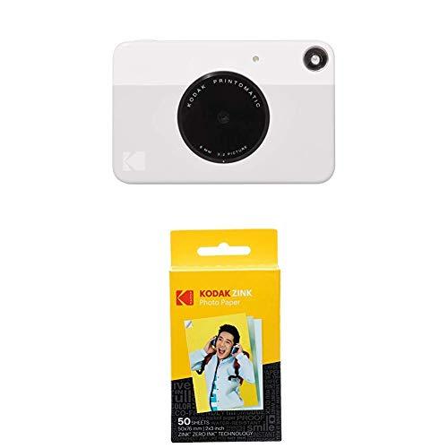 KODAK PRINTOMATIC Digitale Sofortbildkamera, Vollfarbdrucke auf Zink 2x3-Fotopapier mit Sticky-Back-Funktion - Drucken Sie Memories sofort (Grau), 50-Pack-Papierbündel