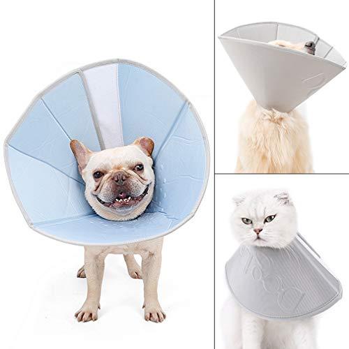 XIAOYU Einstellbare Haustier Erholung Collar Comfy Cat Kegel, Soft Edge Hunde Cone Anti-Biss lecken Wundheilung Sicherheit Praktische Schutz E-Collar,Blau,L