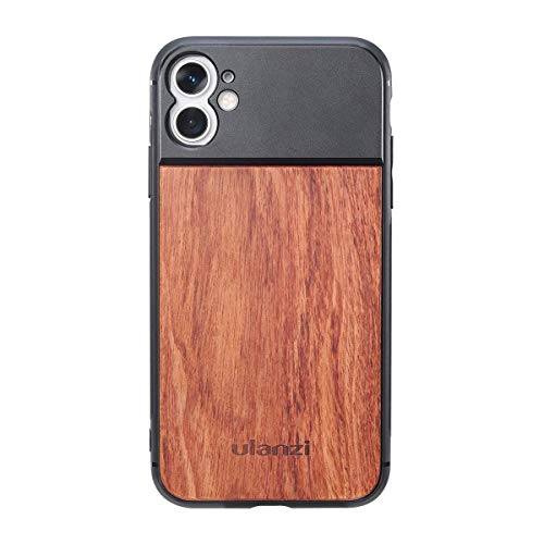 ULANZI Wood Phone Case Support Extra Camera Lens (17mm Diameter) Protective Unique Design Shakeproof Solid Wood Case Cover for iPhone 11 Using Anamorphic Lens Macro Lens DOF Adapter