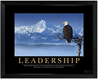 Successories 1.5 in. Black Satin Wood - Leadership Eagle Mini Motivational Poster