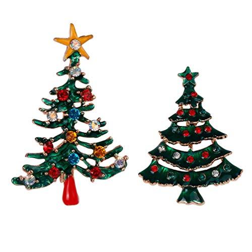Heallily 2 Piezas Broche de Navidad Pin de árbol de Navidad Regalo de Mujer broches Vintage Broche para Ropa Bolsas Mochilas Chaquetas Sombrero joyería DIY Accesorios xz80