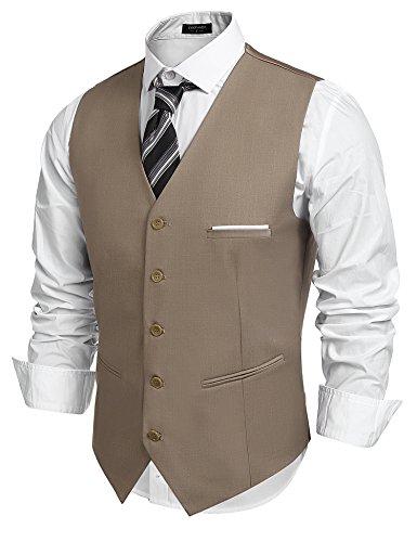 COOFANDY Herren Weste Anzugweste Slim fit V-Ausschnitt Ärmellose mit 5 Knöpfen Gilet Business Casual Klassisch Basic Männer Anzugweste für Herren (Braun, S)