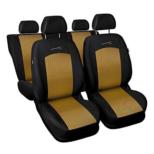 3er Set Saferide Autositzbezüge PKW universal | Auto Sitzbezüge Polyester Gold mit Airbag | für Vordersitze und Rückbank | 1+1 Autositze vorne und 1 Sitzbank hinten teilbar 2 Reißverschlüsse