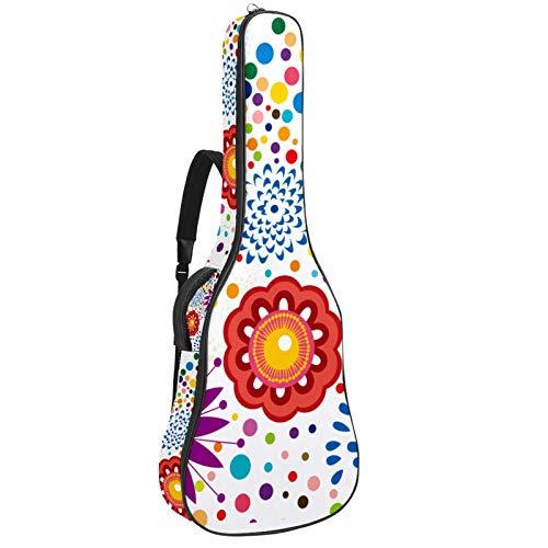 Bolsa para guitarra, impermeable, tela Oxford, 2 bolsillos para 40 41 42 pulgadas guitarra clásica acústica, vector libre floral