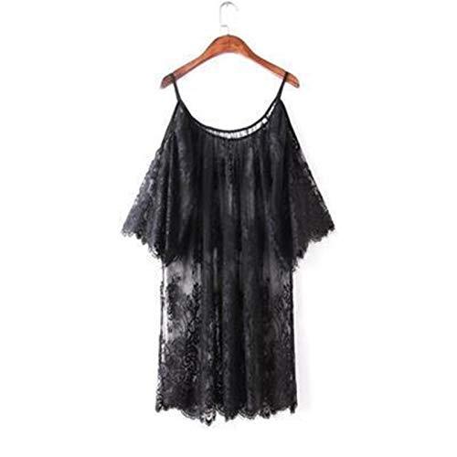 HEPOR Damen Spitze Kimono Robe Babydoll Dessous Mesh Nachthemd S-4XL Das für eine Freundin Frau (Farbe: Schwarz, Größe: M)