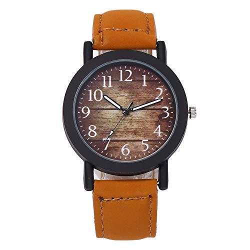 Originaltree vintage da uomo in legno grano modello numeri arabi quarzo analogico casual orologio da polso Brown