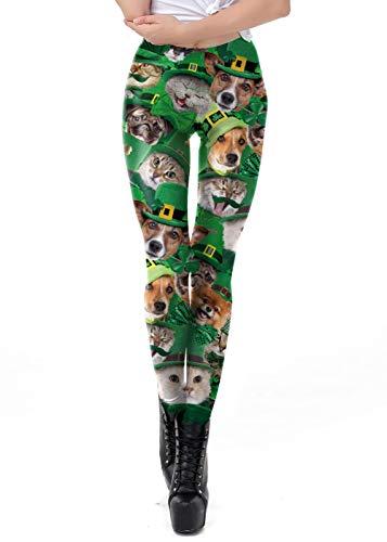GRACIN Womens Green St Patricks Day Leggings St. Paddy's Shamrocks Pants Funny Printed Sretch Workout Tights(L, Animals)