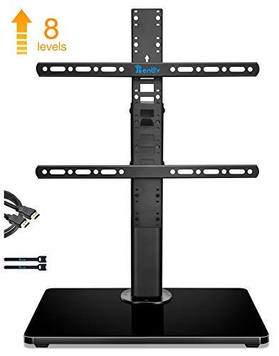 RENTLIV TV Standfuß, TV Ständer für 32-55 Zoll Fernseher bis zu 40kg. mit Holzsockel - Höhenverstellbarer TV Standfuß Ständer mit 8 Stufen- Max. VESA 400 x 400mm