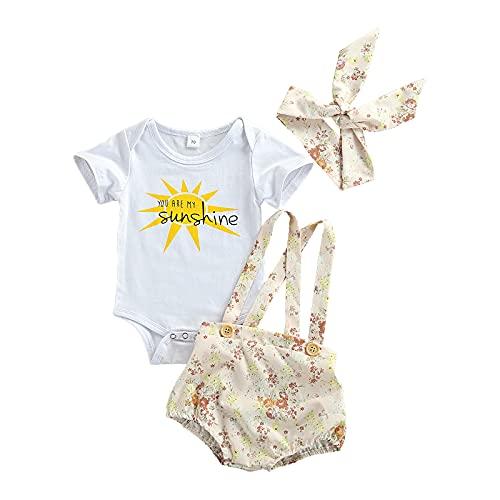 BemeyourBBs Bebé Niñas Verano Floral Trajes De Manga Corta Mameluco Pantalones Cortos Diadema 3pcs Juegos De Ropa Recién Nacido