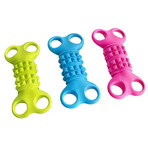 Yowablo Gummi Haustier Spielzeug Knochen reflektiert Sound Toys Pet Dog Bite Toys (12 * 5cm,G)