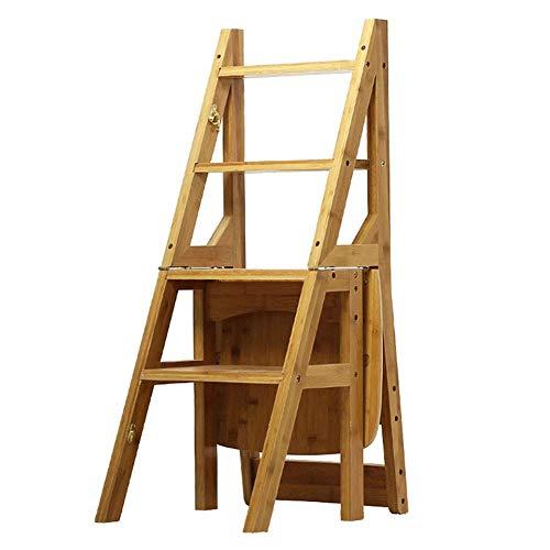 Pouf Repose-pieds ZEMIN Tabouret Pliant Bambou Pliable Multifonction Carbonisation Déformable Ménage Antidérapant, 4-escabeaux, 3 Couleurs (Color : Wood, Size : 36.5x37.5x90cm)