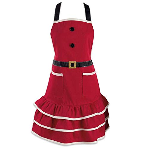 DMtse Santa Christmas Kitchen Apron with Pocket and Extra Long Ties, 31 x 25.5 inch Cute Women Cotton Ruffle Apron for Christmas Holidays Gift Mrs. Claus